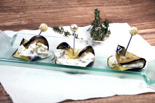 Gaumenfreundin: Mediterrane Auberginenröllchen mit Feta-Frischkäse