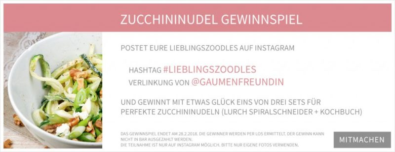 Zucchininudel-Gewinnspiel - Gaumenfreundin