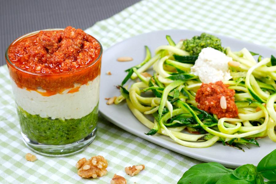 Rucola Pesto, Ricotta Pesto und Tomaten Pesto - Dreifarbiges Pesto