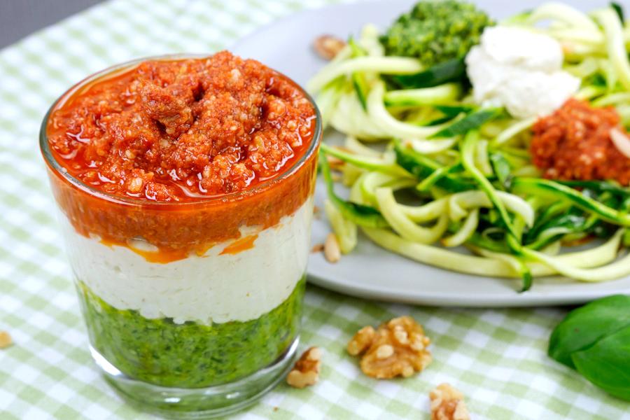 Rezept Zucchininudeln mit Pesto Tricolore #pestostorm
