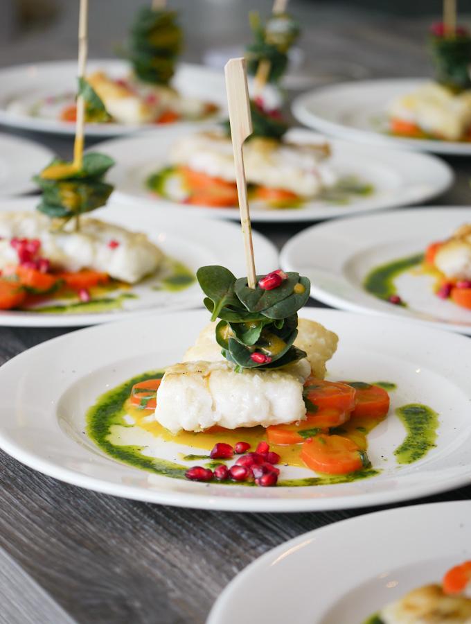 Lengfischfilet mit Granatapfel-Spinatspieß von Patrick Gebhardt
