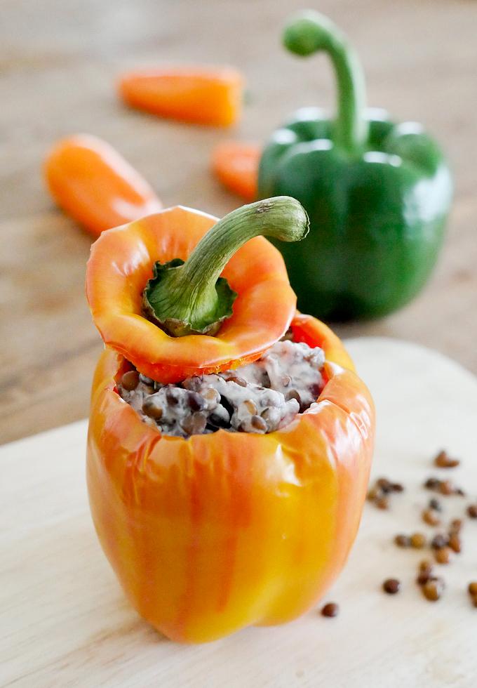 Gefüllte Paprika mit Linsen und Ziegenkäse für 4 WW SmartPoints - Gaumenfreundin Foodblog #ww #4sp #rezept
