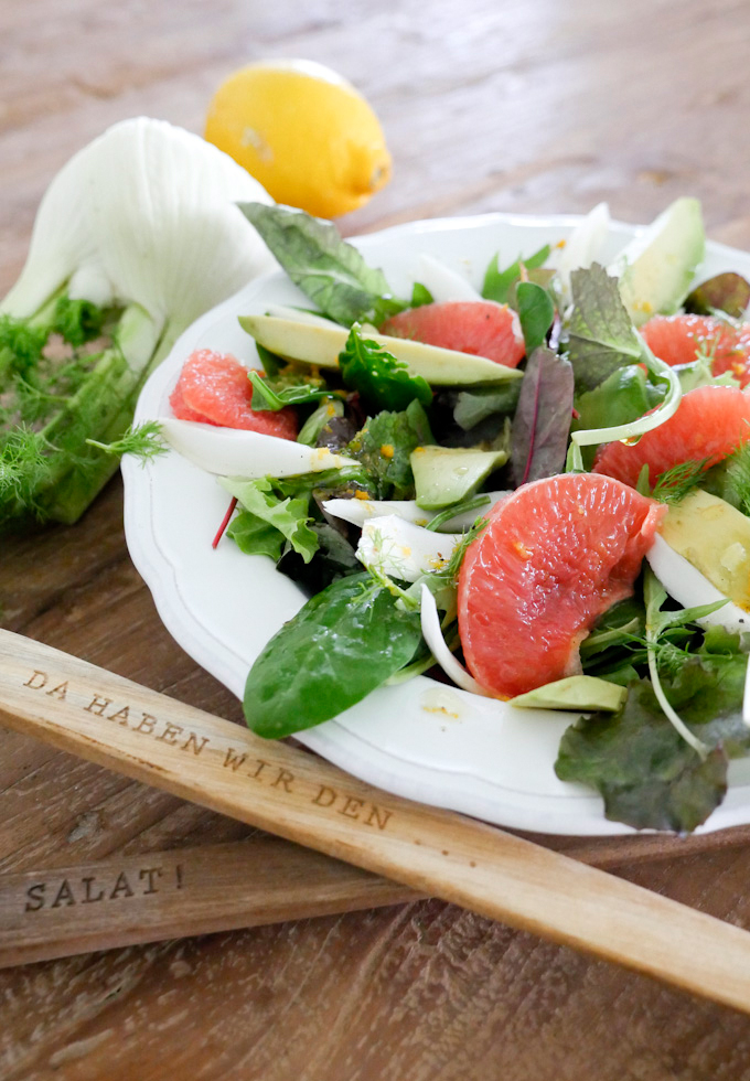 Bunter Paleo-Salat mit Grapefruit, Avocado und Fenchel