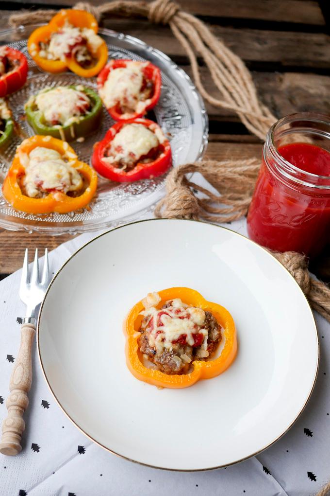 Rezept für Low Carb Paprika-Hackfleisch-Ringe