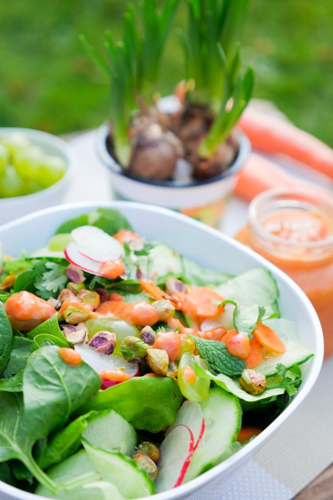 Bunter Salat mit fruchtigem Paprika-Mango-Dressing