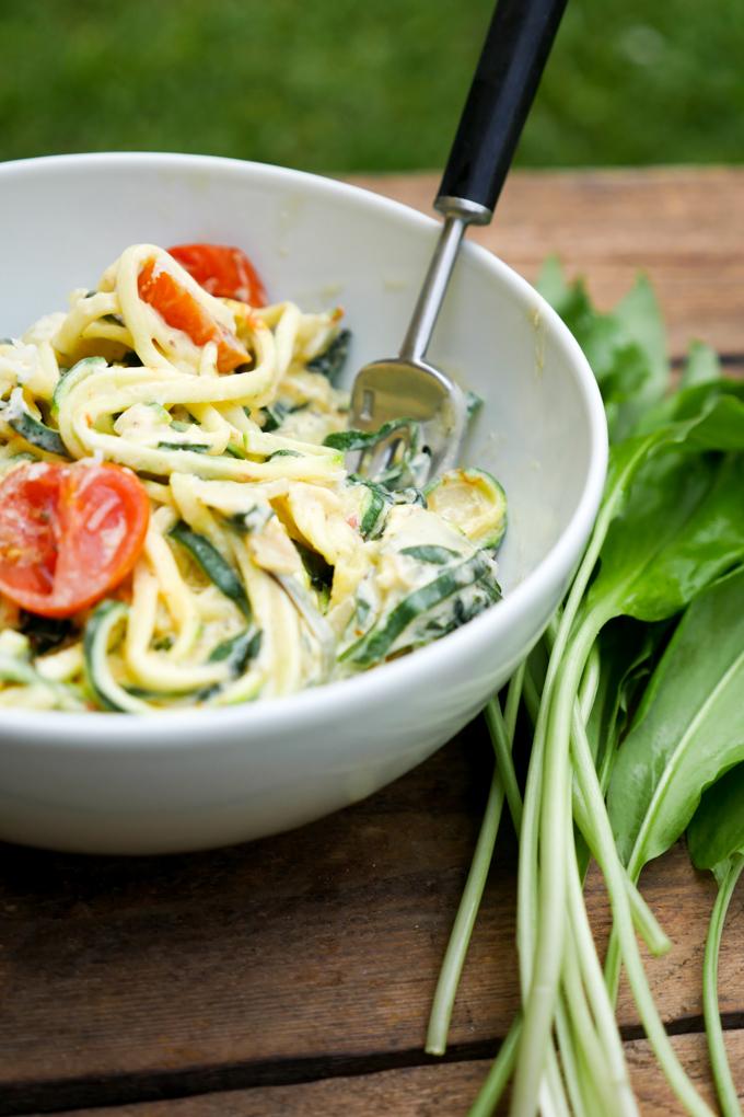 Rezept für Low Carb Zoodles mit Bärlauch und Tomaten