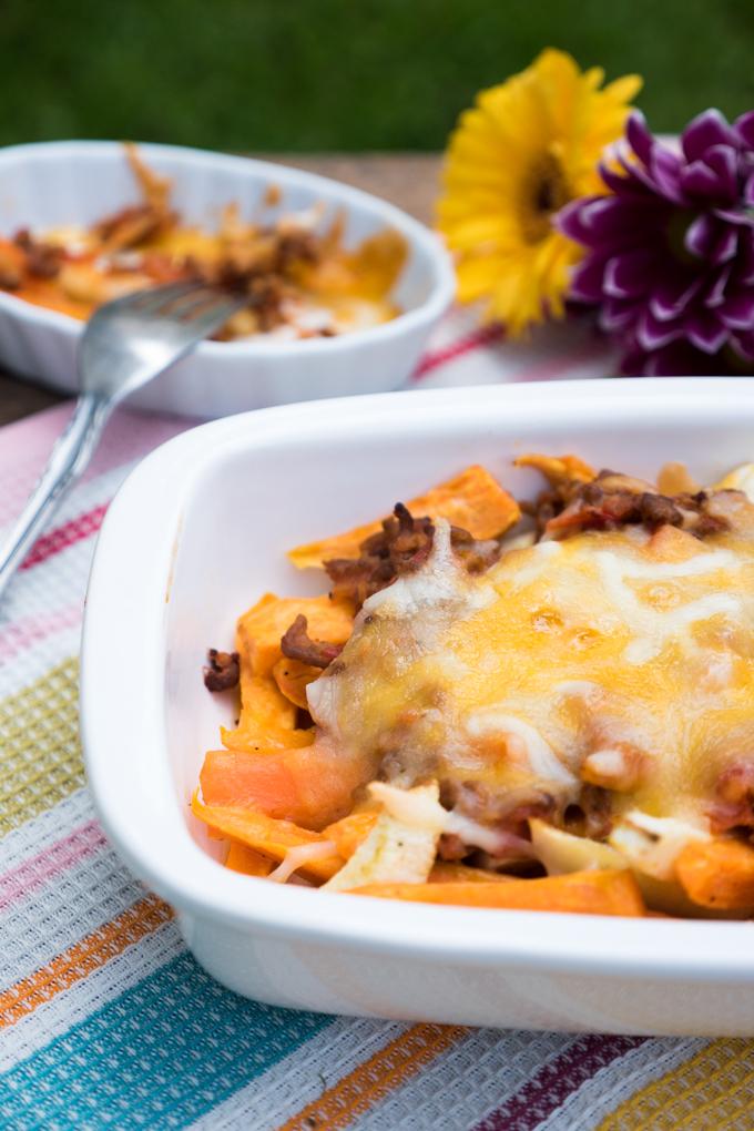 Low Carb Gemüsepommes mit Hackfleisch und Käse überbacken