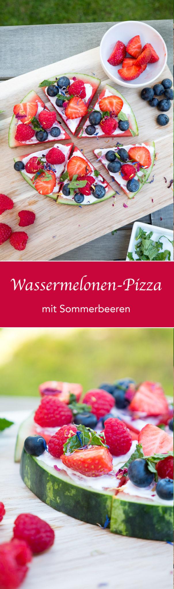 Wassermelonen-Pizza mit Sommerbeeren