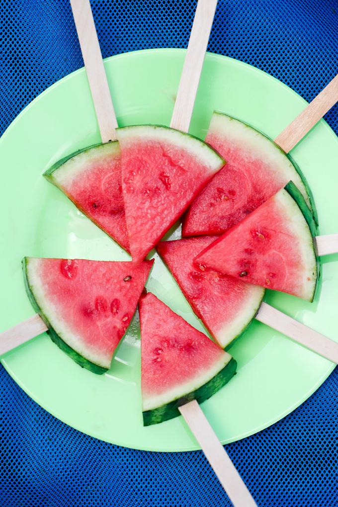 Wassermelone am Spieß