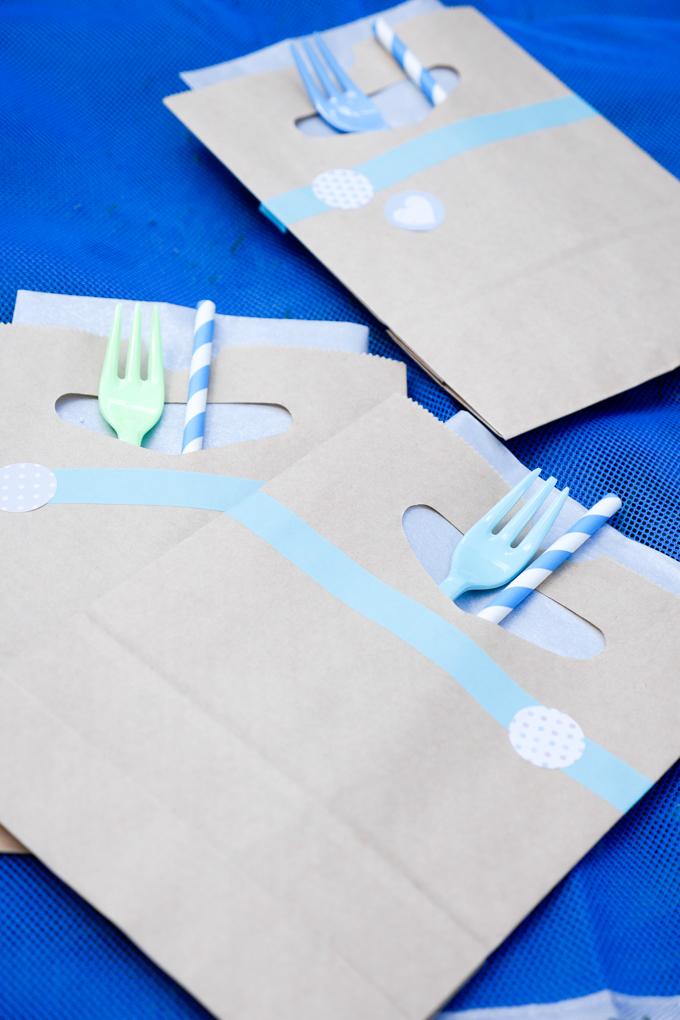 DIY Papiertüten für Serviette, Gabel und Strohhalm