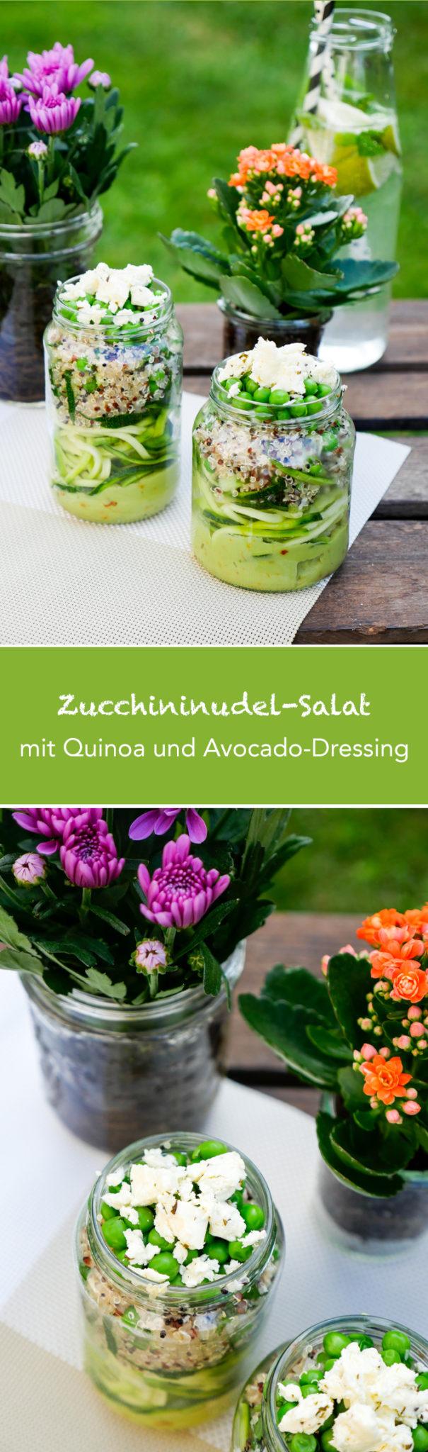 Zucchininudel-Salat mit Quinoa und Avocadodressing