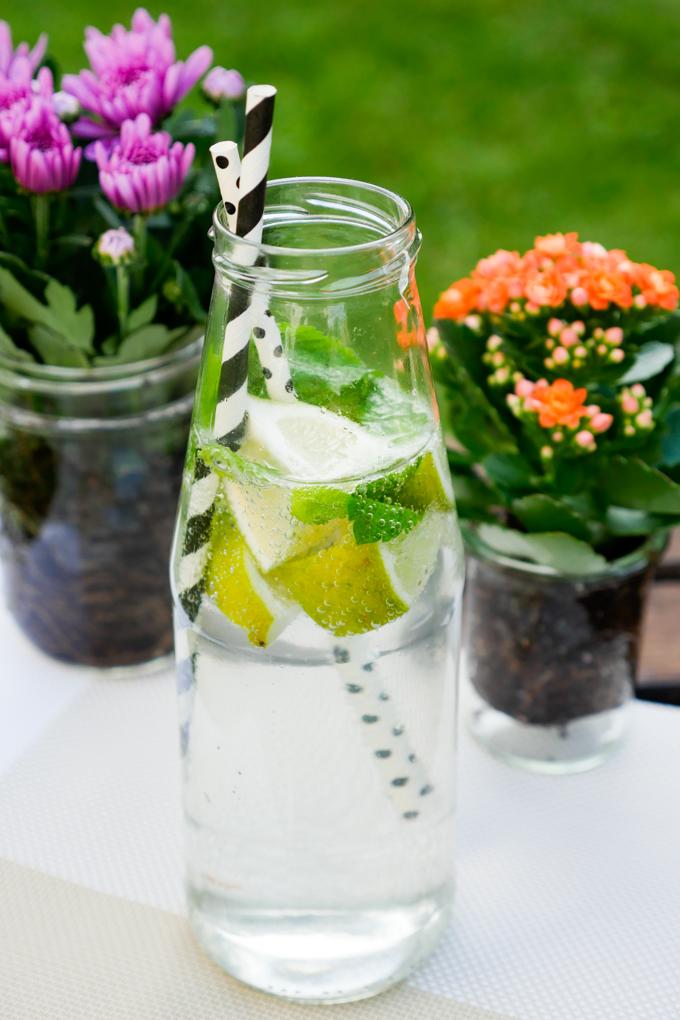 Wasser mit Limette und Minze