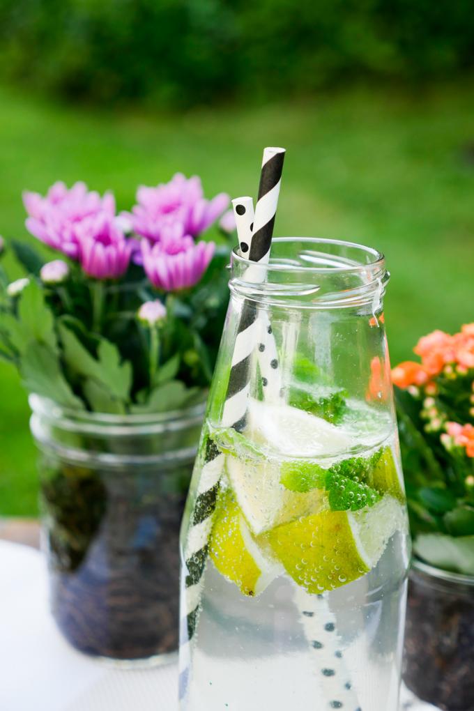 Limetten-Minz-Wasser im Glas