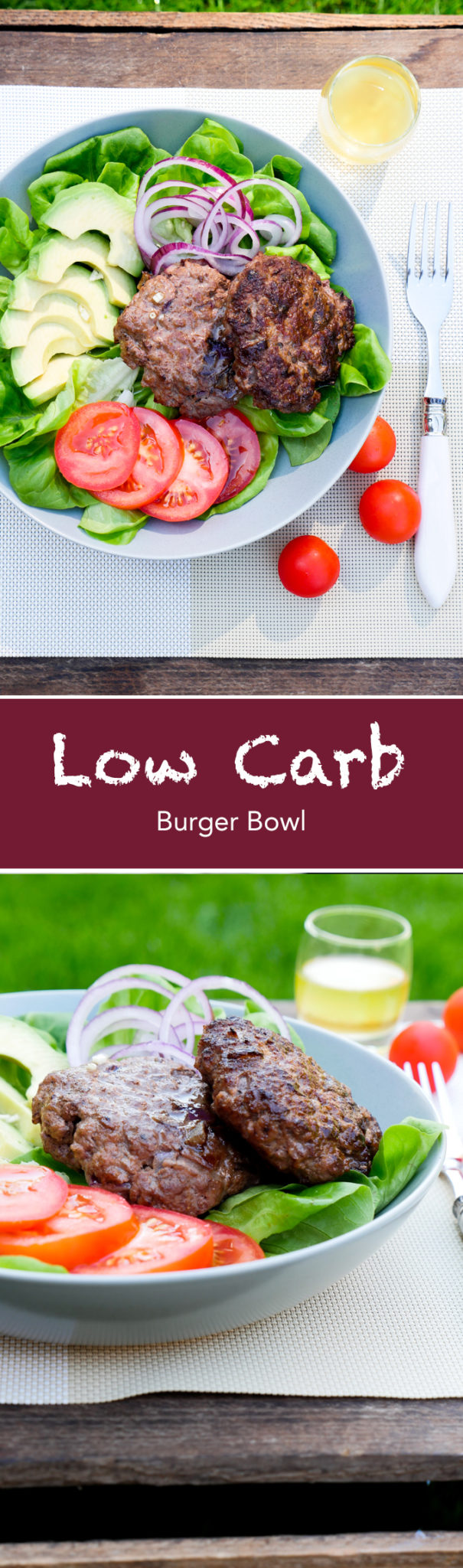 Low Carb Burger Bowl mit Avocado und Tomaten