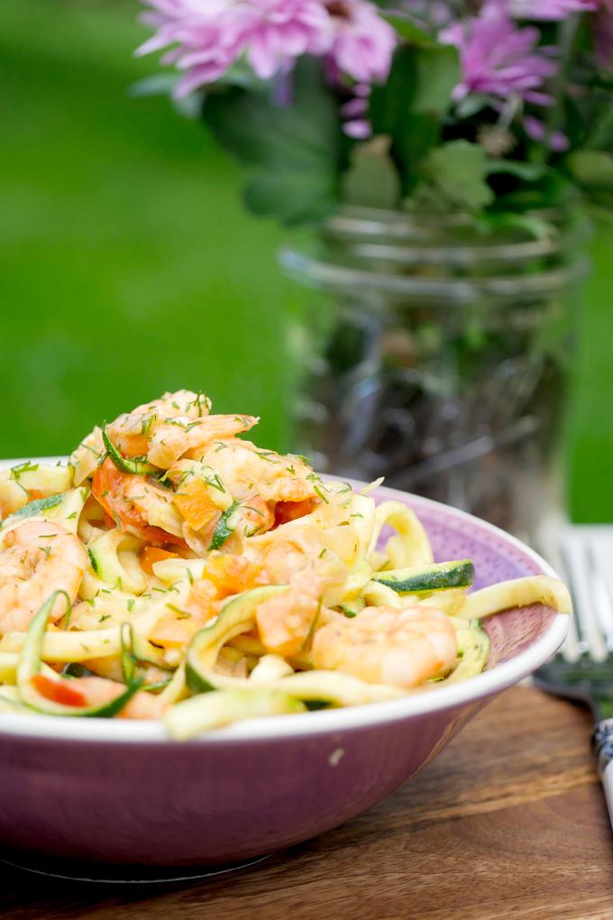 Low Carb Zucchininudeln mit Garnelen