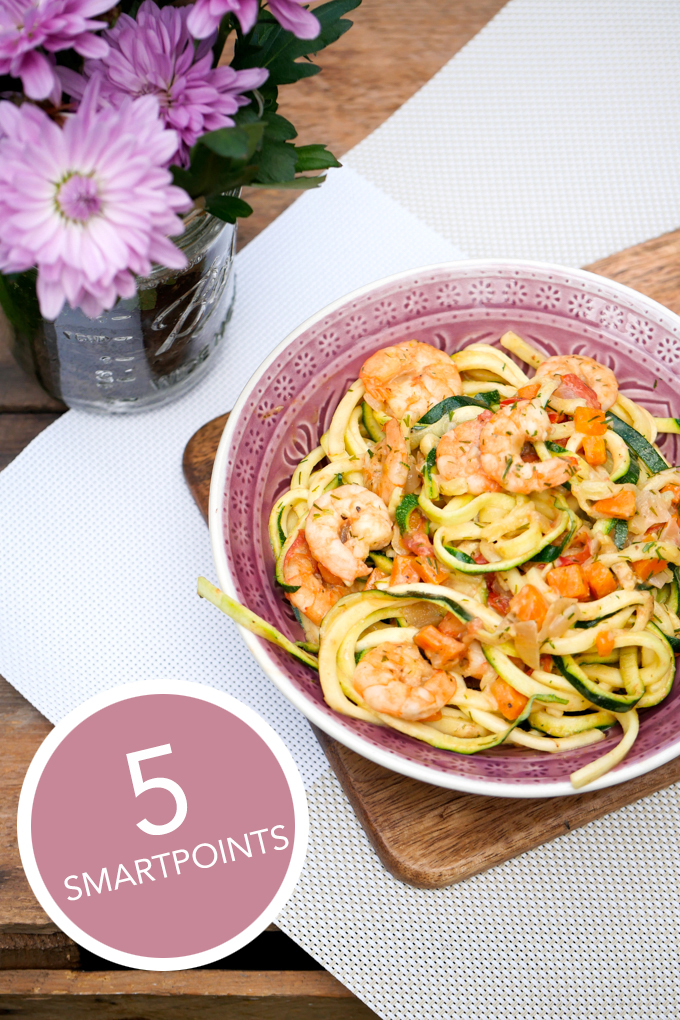 Zoodles mit Garnelen - 5 Smartpoints Weight Watchers