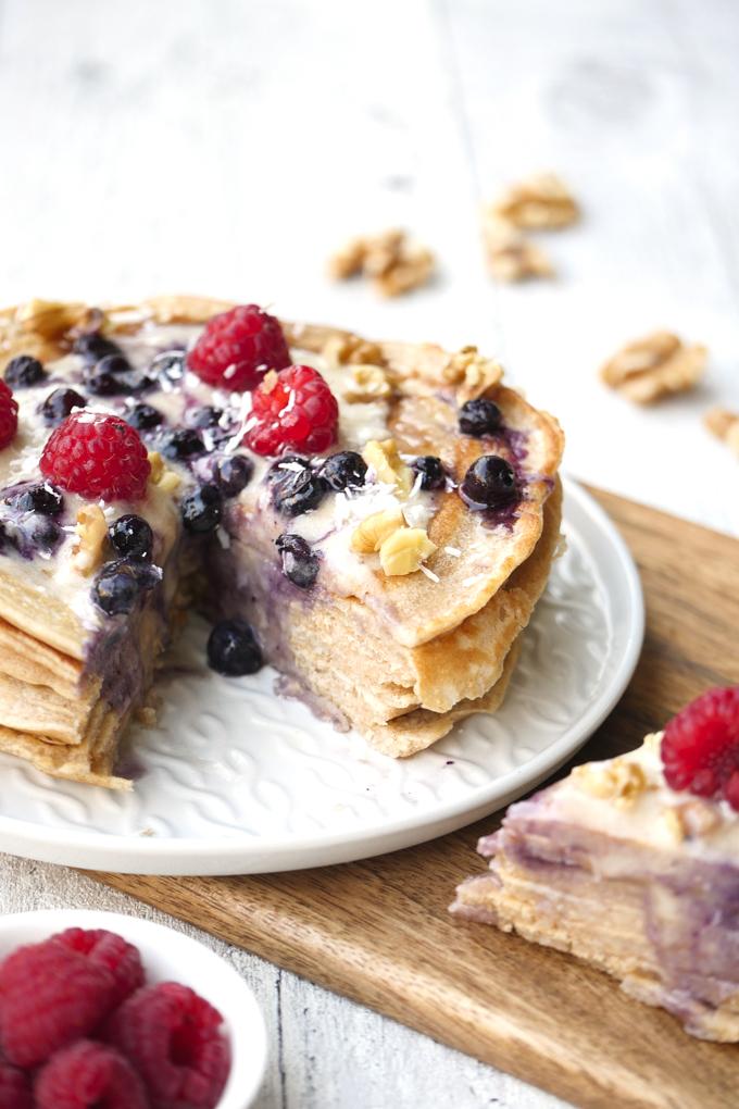 Zuckerfreier Pancakekuchen für das gesunde Familienfrühstück