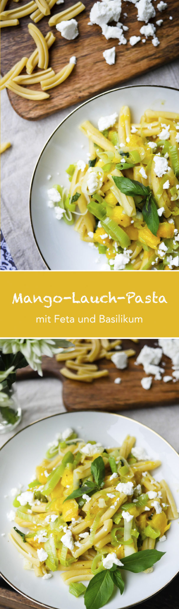 Leckere Mango-Lauch-Pasta mit Feta und Basilikum