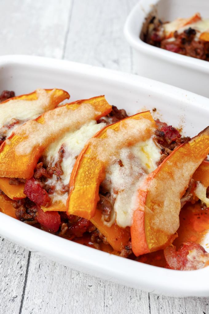 Herbstliches Soulfood - Schneller Low Carb Kürbisauflauf mit Rinderhackfleisch und Mozzarella