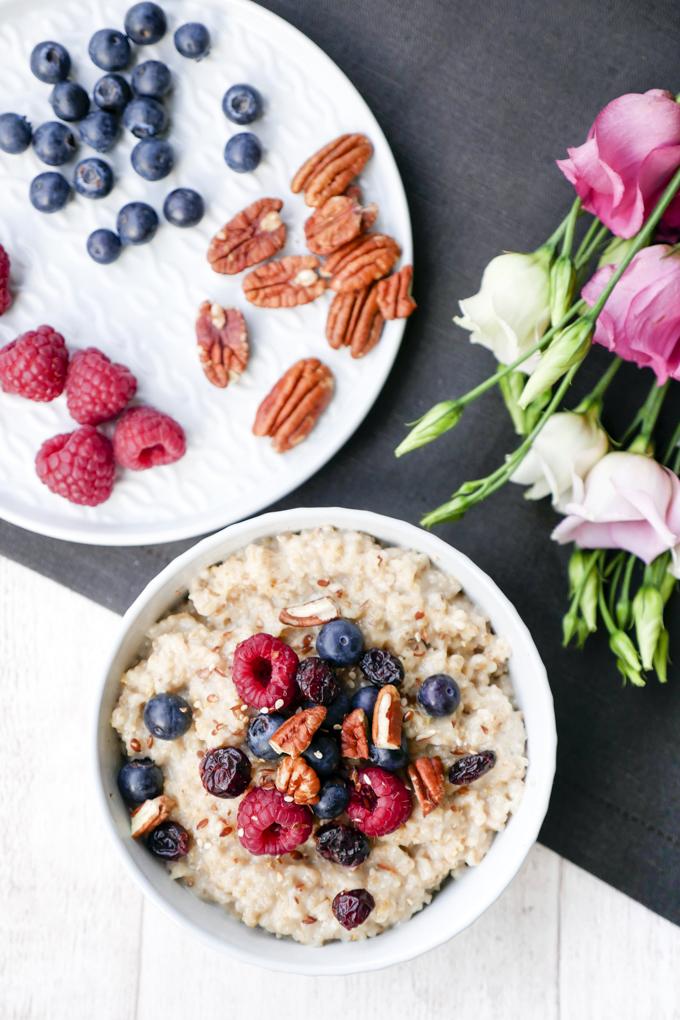 Rezept für schnelles Porridgerezept mit Vanille und Himbeeren