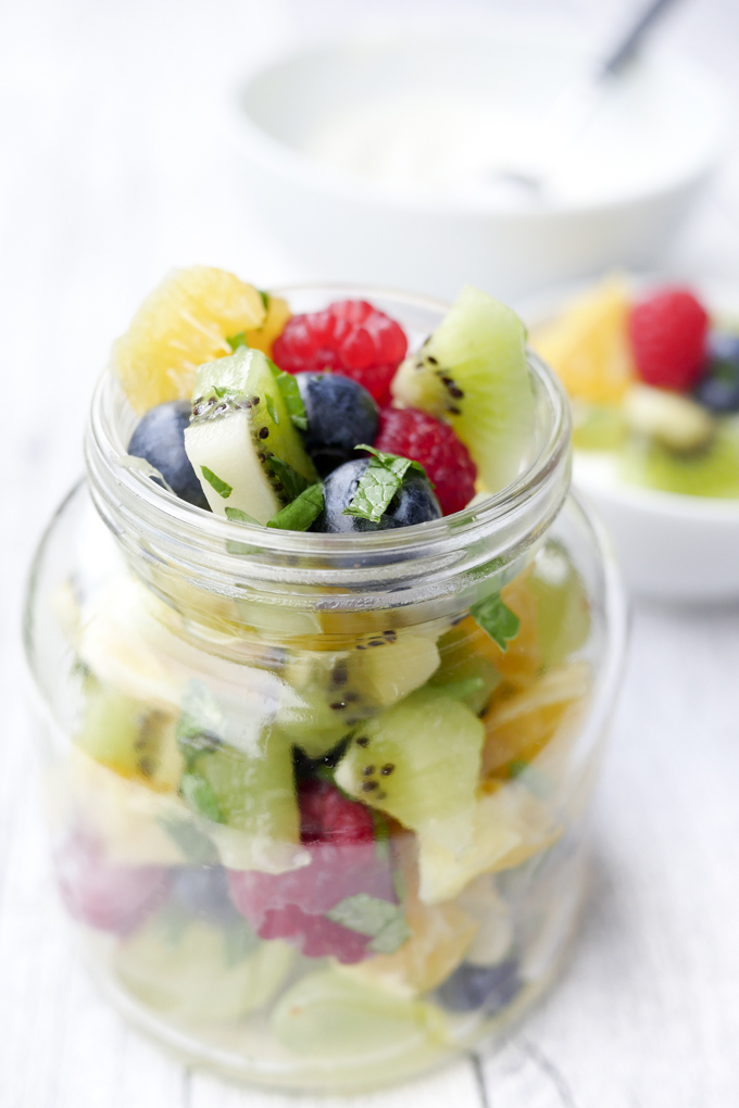 Weight Watchers Rezept - bunter Obstsalat mit Orangendressing und Minze
