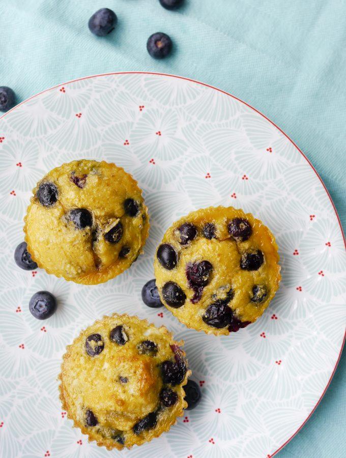Schnelle Low Carb Muffins mit Heidelbeeren