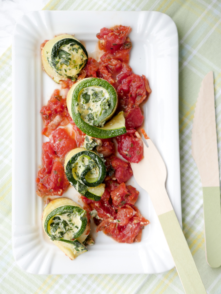 Schnelles Rezept für Zucchini-Cannelloni mit Ricotta und Spinat