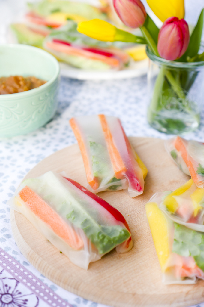 Low Carb Sommerrollen mit Erdnuss-Dip