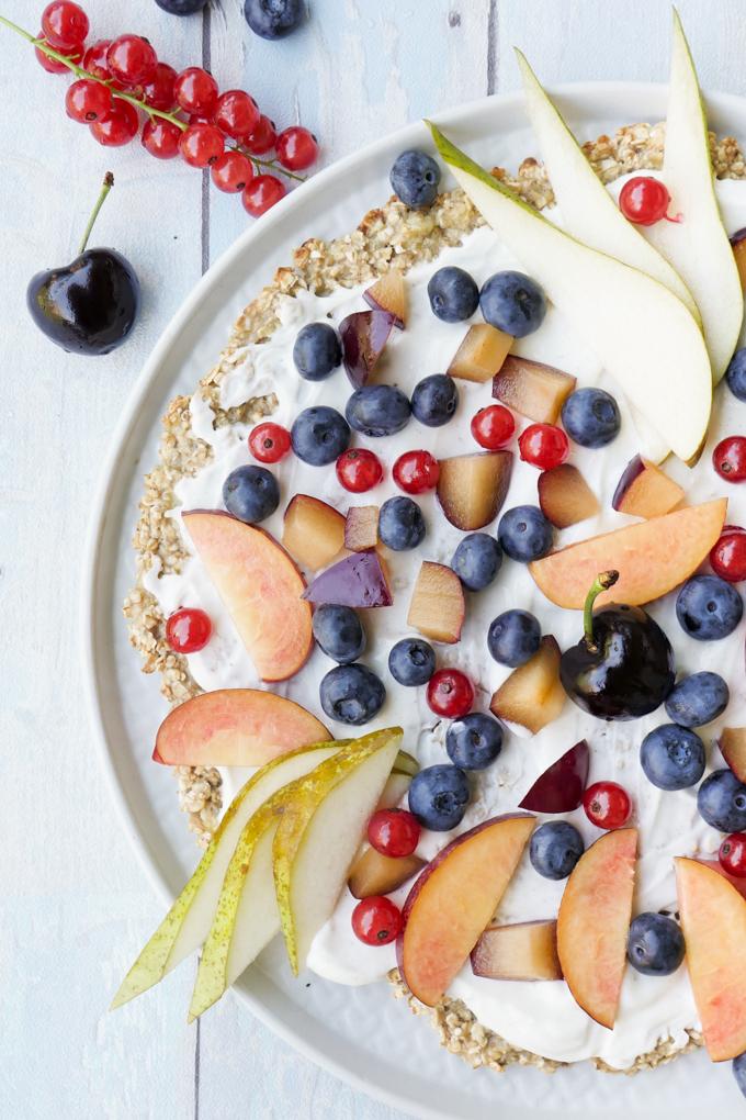 Haferflocken-Bananen-Pizza - die gesunde Frühstückspizza