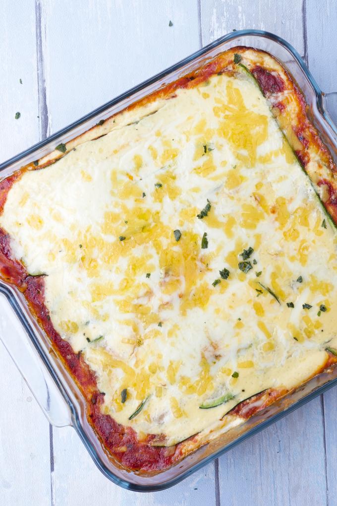 Vegetarische Low Carb Lasagne mit Zucchini und Ricotta