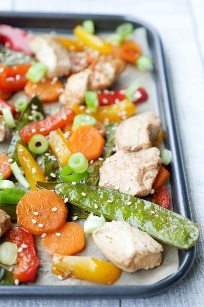 Low Carb Hähnchen-Gemüse mit Zuckerschoten, Möhren und Paprika