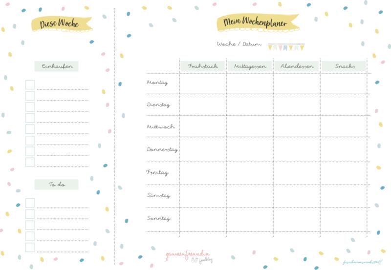 Gratis Wochenplan für Kinder zum Ausdrucken
