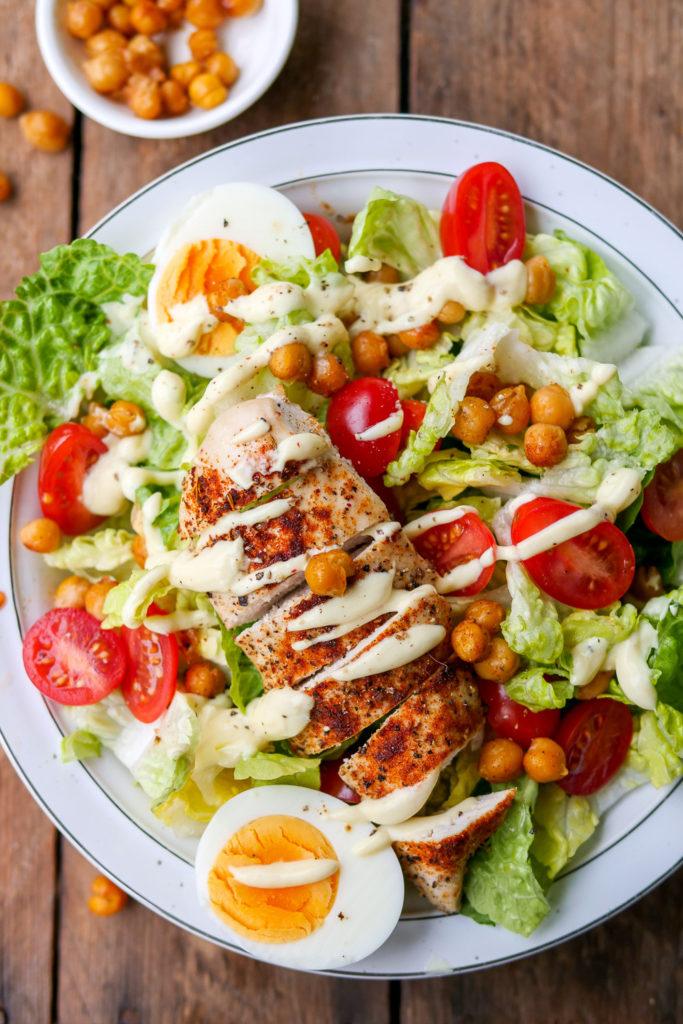 Einfacher und WW tauglicher Caesar Salad mit nur 3 SmartPoints GAUMENFREUNDIN #smartpoints #ww #caesarsalad #salat #rezept #abnehmen