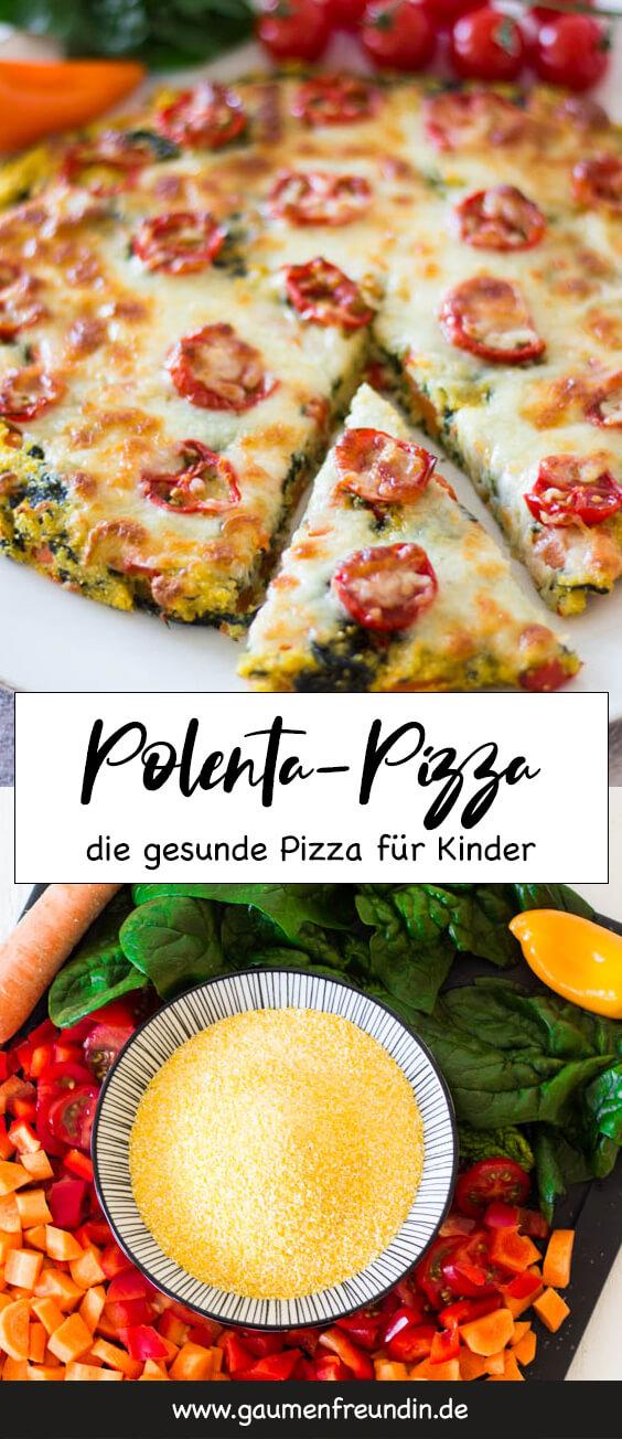 Gesunde und schnelle Polenta-Pizza für Kinder - vollgepackt mit gesundem Gemüse, in nur 15 Minuten zubereitet und richtig lecker