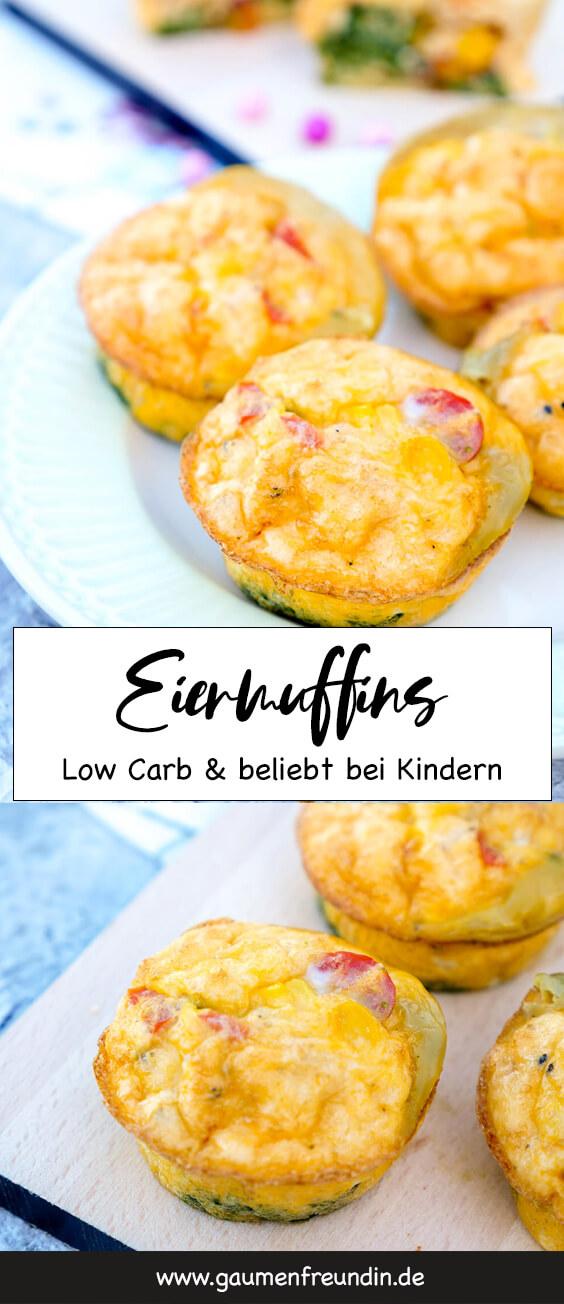 Low Carb Eiermuffins mit Spinat, Tomaten, Parmesan und Mais - ein gesunder Snack für Kinder