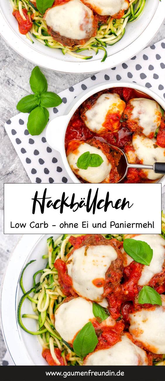 Schnelle Low Carb Hackbällchen mit getrockneten Tomaten, Knoblauch und Parmesan - ohne Ei und Paniermehl