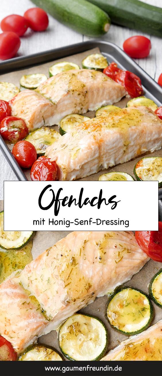 """Zarter Ofenlachs mit Honig-Senf-Dressing, Tomaten und Zucchini aus dem Kochbuch """"One-Pot-Gerichte für die Familie"""""""