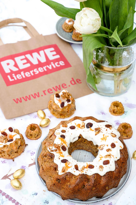 REWE Blog-Roulette - mein gesunder Rüblikuchen ohne raffinierten Zucker mit Zutaten aus dem REWE Lieferservice