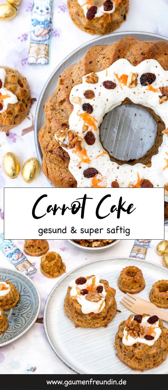 Super saftiger und gesunder Carrot Cake mit Walnüssen und Joghurt-Frosting - ein Rüblikuchen-Rezept ohne raffinierten Zucker