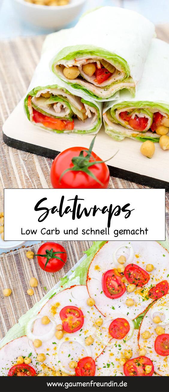 Gesundes Low Carb Fingerfood - Salatwraps für 1 WW SmartPoint mit Kichererbsen, Tomaten, Pute und Curry