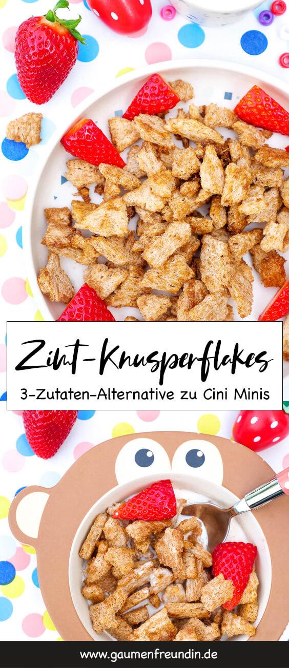 Zimt-Knusperflakes - ein schnelles und leckeres Kinderfrühstück mit nur 3 Zutaten - schmeckt wie Cini Minis