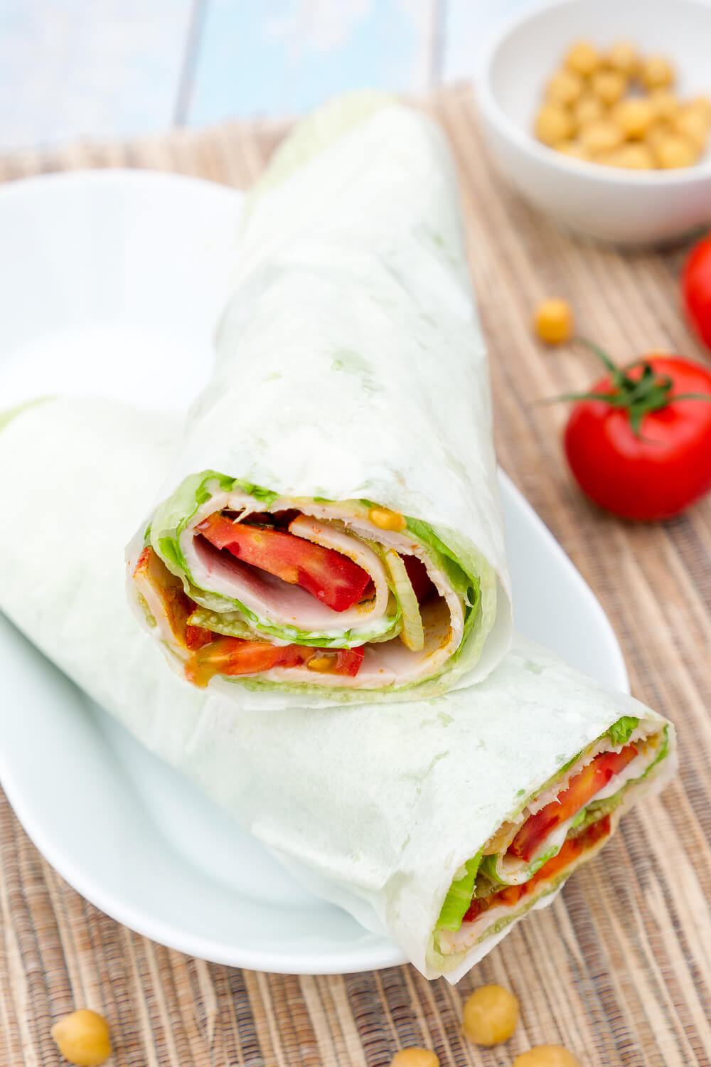 Salat-Wrap sind gesundes Low Carb Fingerfood ohne Tortillas