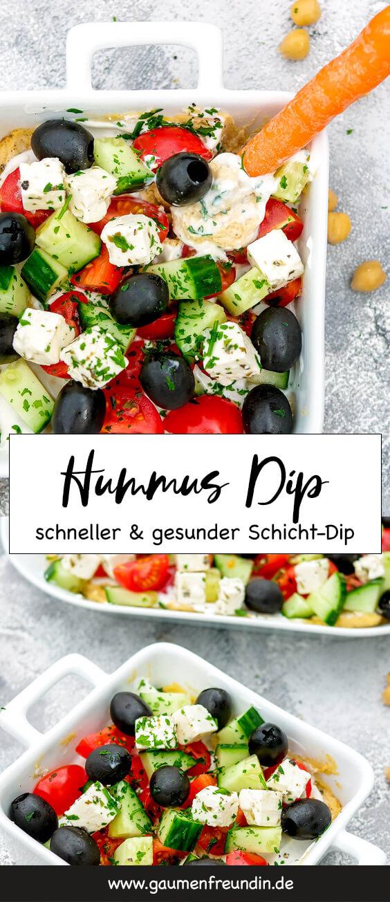 Schneller und gesunder Hummus Dip (Schicht-Dip) mit Oliven, Gurken, Tomaten und Feta