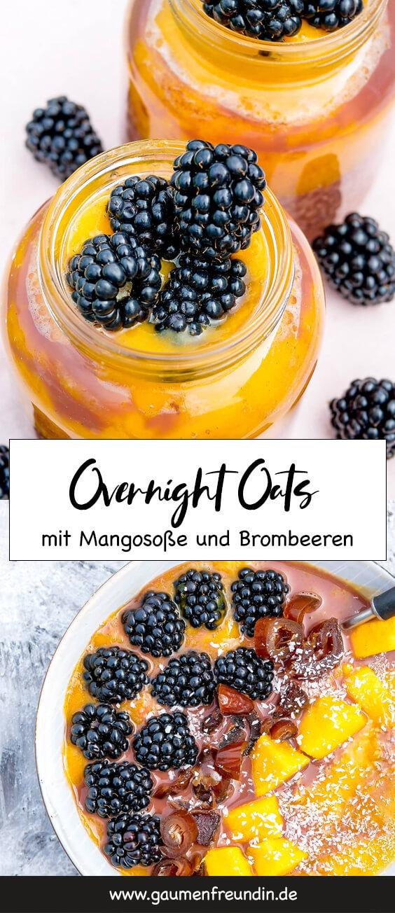 Overnight Oats mit nur 3 Zutaten und einem Topping aus Mangosoße, Brombeeren, Datteln und Kokosraspeln - das gesunde Frühstück togo