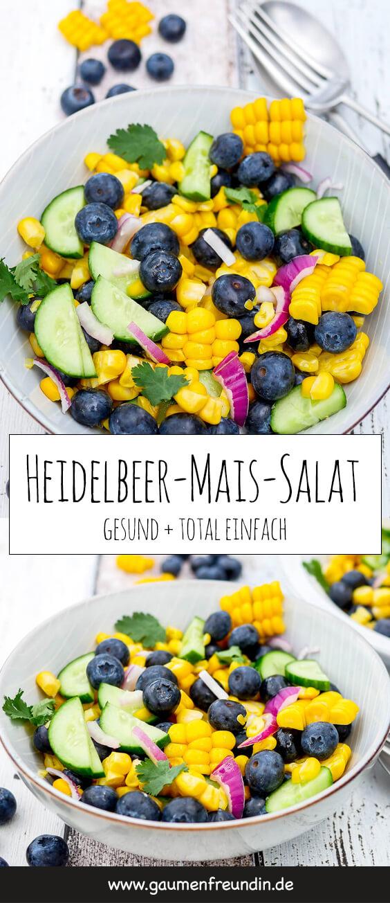 Erfrischender Sommersalat mit Heidelbeeren, Mais, Gurke, Koriander, Zwiebeln und einem Limettendressing - ein schnelles und gesundes WW-Rezept für die ganze Familie - Gaumenfreundin Foodblog