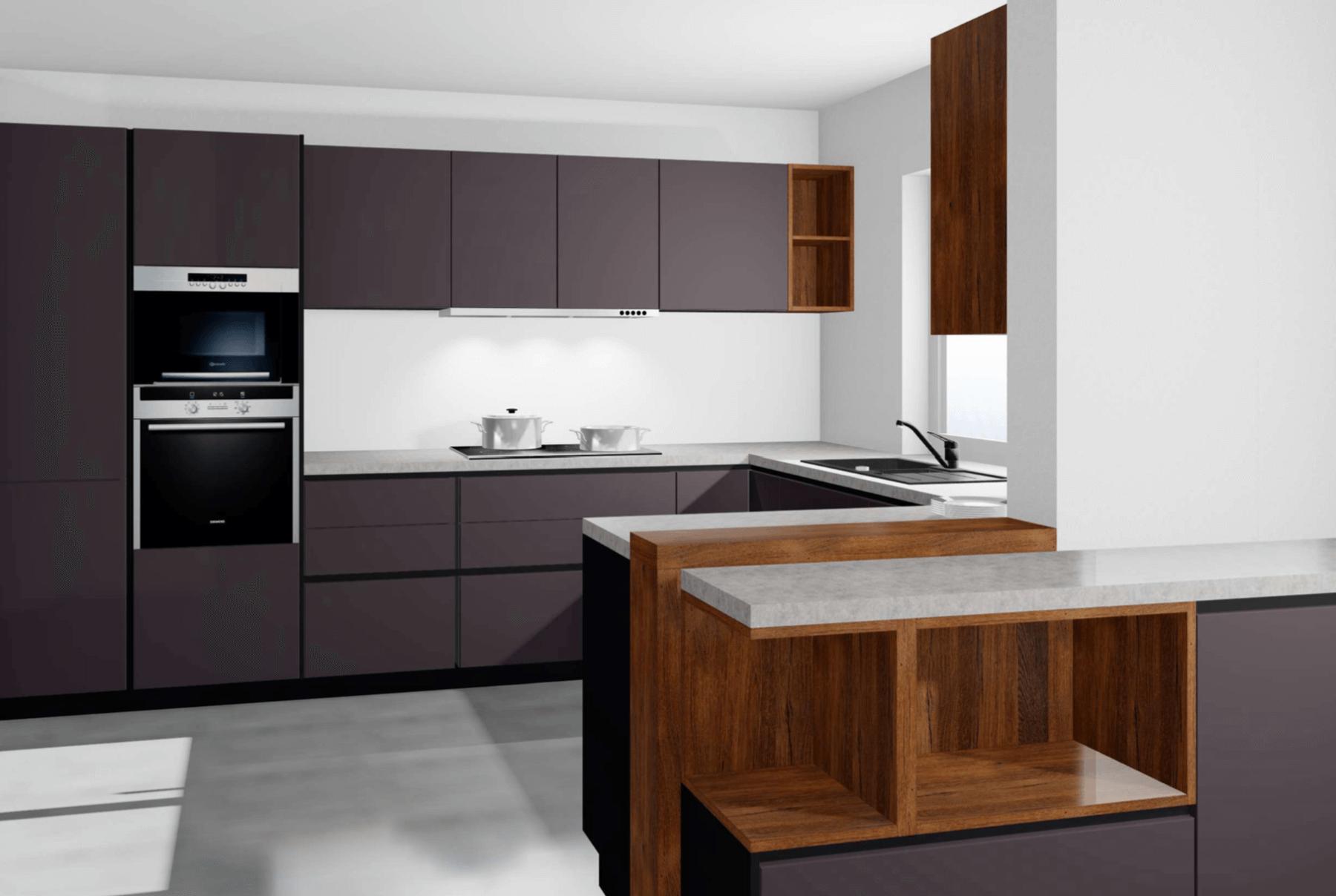 Werbung. Meine Traumküche von Alno Küchen - Modell ALNOSTAR PURE kombiniert mit einer Arbeitsplatte in Speckstein-Optik und Antikeiche-Akzenten