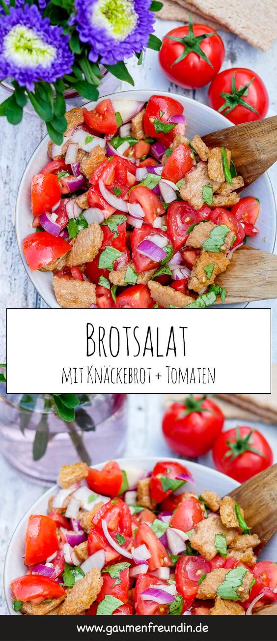 Schneller und einfacher Brotsalat mit Knäckebrot und Tomaten - ein herrlich würziger, knackiger und aromatischer Sommersalat, der in 10 Minuten zubereitet ist