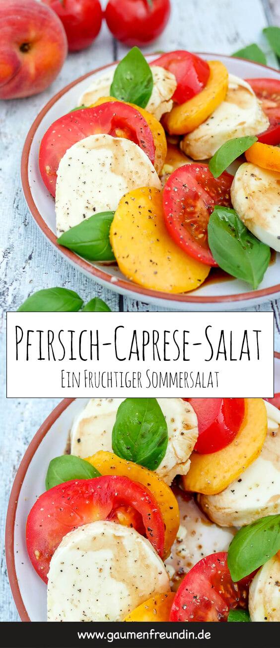 Schneller Caprese-Salat mit fruchtigem Pfirsich - eine herrlich sommerliche Variante des italienischen Klassikers