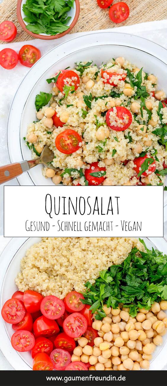 Veganer Quinoasalat mit Kichererbsen, Tomaten, Petersilie und Limettendressing