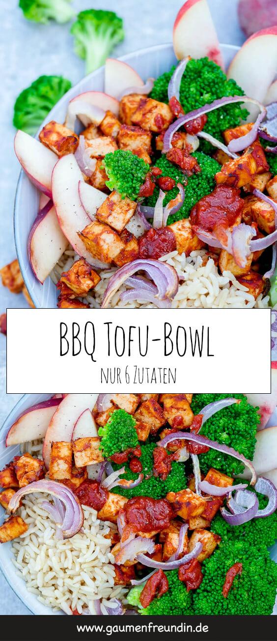 BBQ Tofu-Bowl mit Tofu Brokkoli, Zwiebeln, Pfirsich, Reis und BBQ Sauce - ein schnelles und gesundes Meal Prep Rezept